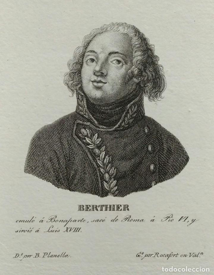 RETRATO DE BERTHIER, AGUAFUERTE DE TOMÁS ROCAFORT. 1840 (Arte - Grabados - Modernos siglo XIX)