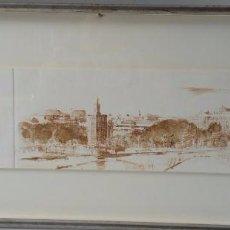 Arte: PANORÁMICA DE SEVILLA - GRABADO FIRMADO Y NUMERADO - GIRALDA TORRE DEL ORO. Lote 104088143