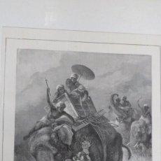 Arte: GRABADO LA CAZA DEL TIGRE EN LA INDIA. COMPOSICIÓN Y DIBUJO DE F. SPECHT.. Lote 104091167