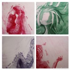 """Arte: ELENA RUBIO - COMPOSICIÓN DE CUATRO GRABADOS """"EL SILENCIO"""" 56X38 CM C/U COA . Lote 104181691"""
