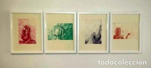 """Arte: ELENA RUBIO - COMPOSICIÓN DE CUATRO GRABADOS """"EL SILENCIO"""" 56x38 cm C/U COA - Foto 2 - 104181691"""