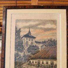 Arte: ESPELID. GRABADO COLOREADO A MANO DE 20X27 ENMARCADO 41X33. AÑO 1928 . OSLO.. Lote 104183323