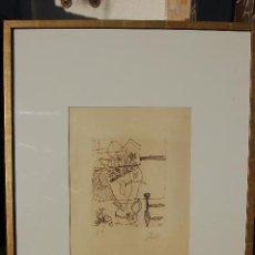 Arte: ROBERTO ORALLO. SANTANDER 1947 .GRABADO DE 15,5X18CM ENMARCADO PERFECTO EN 73X52. AGUAFUERTE. PA.. Lote 104377399