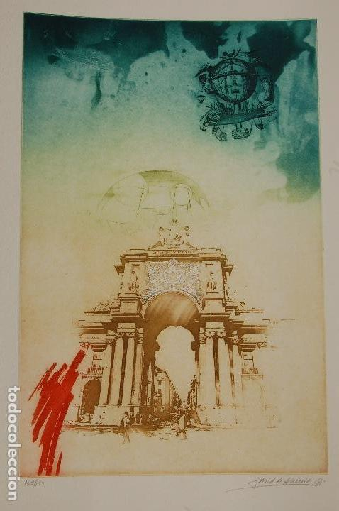 Arte: David de Almeida (Portugal 1945-2014). Aguafuerte y serifrafía. 1981. 50x32 en 65x50. 162/199.Perfec - Foto 2 - 104382055