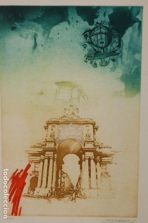 DAVID DE ALMEIDA (PORTUGAL 1945-2014). AGUAFUERTE Y SERIFRAFÍA. 1981. 50X32 EN 65X50. 162/199.PERFEC (Arte - Grabados - Contemporáneos siglo XX)