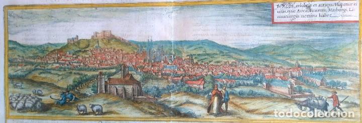 GRABADO ANTIGUO BURGOS DEL CIVITATES ORBIS TERRARUM AÑO 1563 CON CERTIF. AUTENTIC. (Arte - Grabados - Antiguos hasta el siglo XVIII)