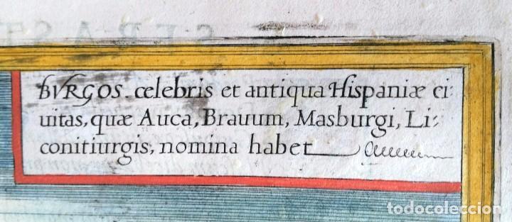 Arte: Grabado antiguo Burgos del Civitates Orbis Terrarum año 1563 con certif. autentic. - Foto 2 - 105009855