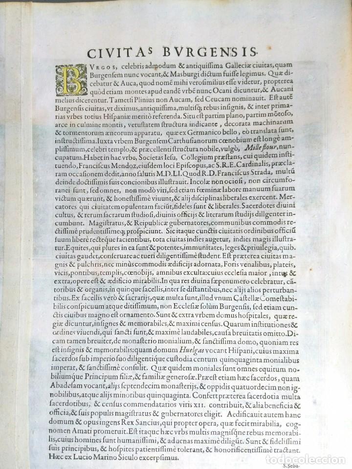 Arte: Grabado antiguo Burgos del Civitates Orbis Terrarum año 1563 con certif. autentic. - Foto 3 - 105009855