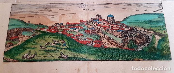 FRANS HOGENBERG,1580, GRABADO ILUMINADO DEL PUEBLO DE SETENIL DE LAS BODEGAS,(CADIZ),S. XVI (Arte - Grabados - Antiguos hasta el siglo XVIII)