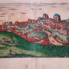 Arte: FRANS HOGENBERG,1580, GRABADO ILUMINADO DEL PUEBLO DE SETENIL DE LAS BODEGAS,(CADIZ),S. XVI. Lote 105274595