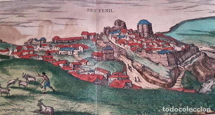 Arte: FRANS HOGENBERG,1580, GRABADO ILUMINADO DEL PUEBLO DE SETENIL DE LAS BODEGAS,(CADIZ),S. XVI - Foto 2 - 105274595
