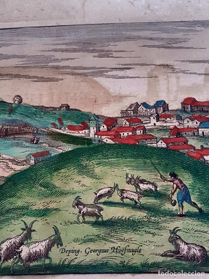 Arte: FRANS HOGENBERG,1580, GRABADO ILUMINADO DEL PUEBLO DE SETENIL DE LAS BODEGAS,(CADIZ),S. XVI - Foto 3 - 105274595