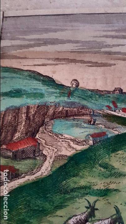 Arte: FRANS HOGENBERG,1580, GRABADO ILUMINADO DEL PUEBLO DE SETENIL DE LAS BODEGAS,(CADIZ),S. XVI - Foto 4 - 105274595