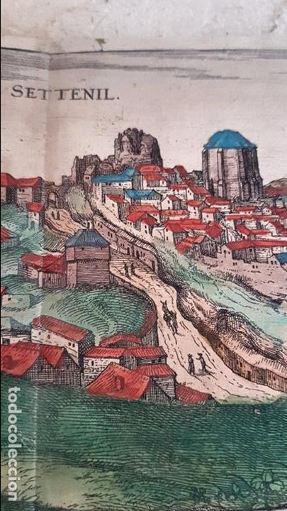 Arte: FRANS HOGENBERG,1580, GRABADO ILUMINADO DEL PUEBLO DE SETENIL DE LAS BODEGAS,(CADIZ),S. XVI - Foto 5 - 105274595