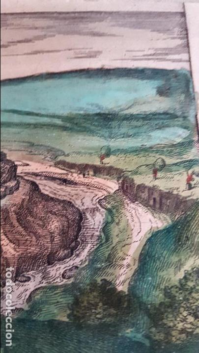 Arte: FRANS HOGENBERG,1580, GRABADO ILUMINADO DEL PUEBLO DE SETENIL DE LAS BODEGAS,(CADIZ),S. XVI - Foto 6 - 105274595