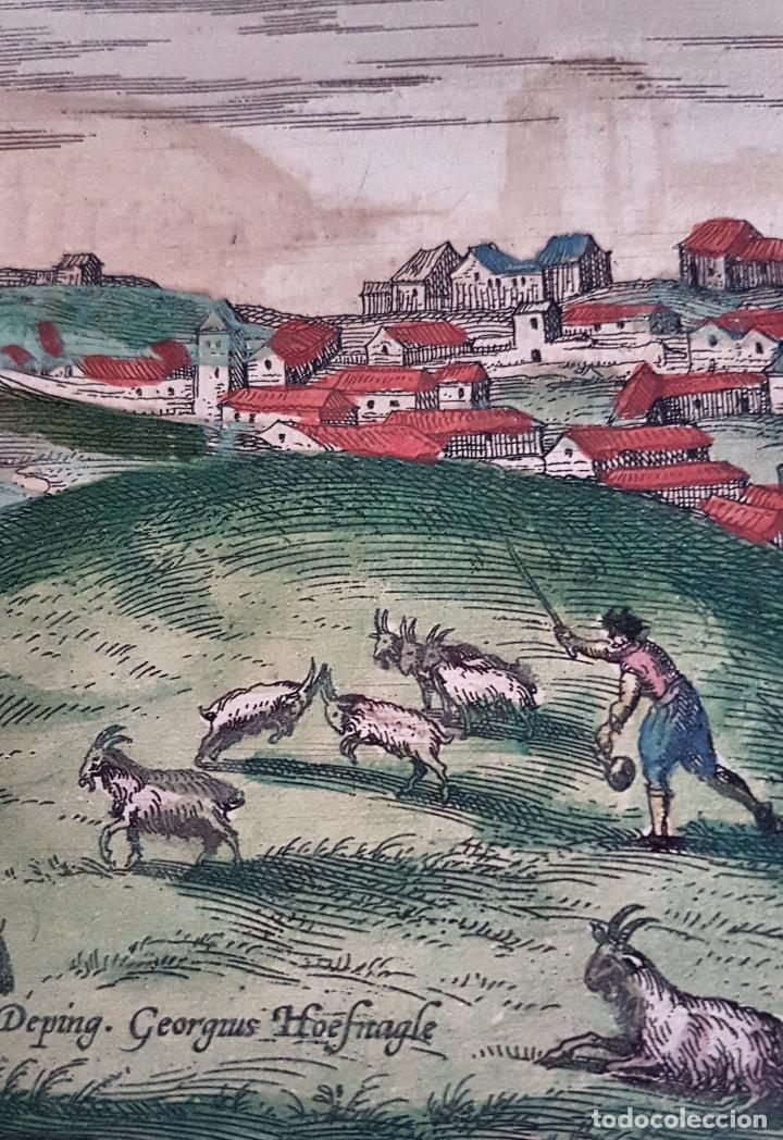 Arte: FRANS HOGENBERG,1580, GRABADO ILUMINADO DEL PUEBLO DE SETENIL DE LAS BODEGAS,(CADIZ),S. XVI - Foto 7 - 105274595