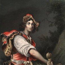 Arte: GRABADO AL ACERO COLOREADO [MÉT. BAXTER] DE 1860. DAVID CON LA CABEZA DE GOLIAT. A. H. PAYNE. RARO. Lote 105674287