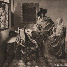 Arte: FOTOGRABADO GRAN FOLIO, DAMA BEBIENDO CON UN CABALLERO DE VERMEER, ORIGINAL, DE LA BELLE ÉPOQUE 1903. Lote 105676535