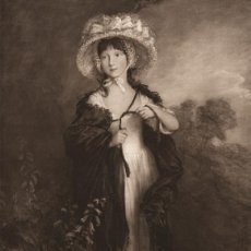 Arte: FOTOGRABADO GRAN FOLIO, RETRATO DE MISS HAVERFIELD DE GAINSBOROUGH, ORIGINAL DE LA BELLE ÉPOQUE 1903. Lote 106095503