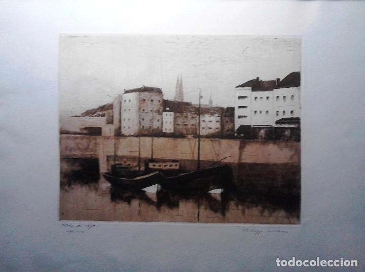 GRABADO VISTA OOSTENDE - HOLANDA - AGUAFUERTE Y AGUATINTA - FIRMADO Y NUMERADO (Arte - Grabados - Contemporáneos siglo XX)