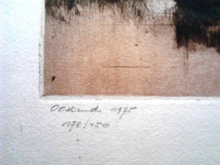 Arte: GRABADO VISTA OOSTENDE - HOLANDA - AGUAFUERTE Y AGUATINTA - FIRMADO Y NUMERADO - Foto 4 - 106186603