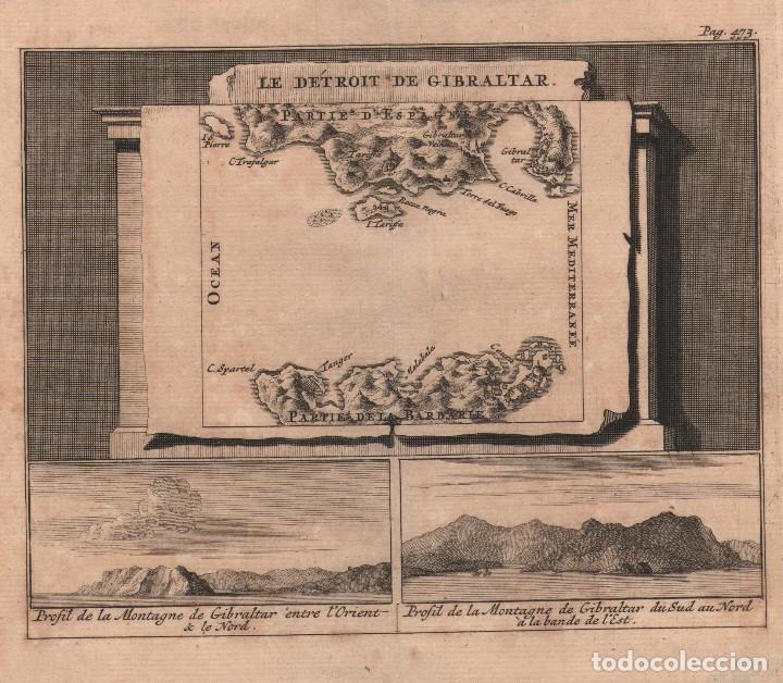 GRABADO DE GIBRALTAR - AÑO 1707 - ORIGINAL (Arte - Grabados - Antiguos hasta el siglo XVIII)