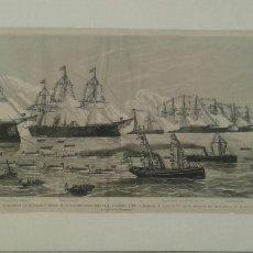 Arte: GRABADO CADIZ - BARCO S.M. EL REY DIRIGIENDOSE AL MUELLE - AÑO 1887. Lote 107301707