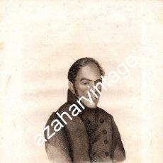 Arte: SIGLO XIX GENERAL GONZALEZ MORENO GUERRAS CARLISTAS 185X255MM, JOSÉ GÓMEZ LO GRABÓ. Lote 107650231