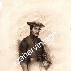 Arte: SIGLO XIX, GRABADO TENIENTE GENERAL CARLISTA, BRUNO VILLARREAL, 185X255MM. Lote 107650699