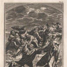 Arte: GRABADO PLANCHA DE COBRE DE 1760, JESUCRISTO ANDA SOBRE LAS AGUAS, PEDRO, JOHN CLARK, INFOLIO, XVIII. Lote 107752423