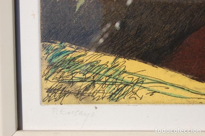 Arte: Nuño Ruiz. Autor de Málaga. Grabado al aguatinta de 18x23,5 enmarcado en 36x41. Año 1982,PE - Foto 3 - 107972487