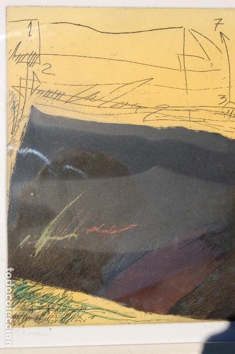 NUÑO RUIZ. AUTOR DE MÁLAGA. GRABADO AL AGUATINTA DE 18X23,5 ENMARCADO EN 36X41. AÑO 1982,PE (Arte - Grabados - Contemporáneos siglo XX)