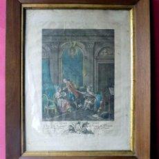 Arte: GRABADO COLOREADO, FRANCIA. ENMARCADO. LE BILLET DOUX. W. Lote 142805357