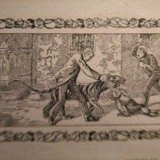 Arte: ANTIGUO GRABADO HISTORIA DE LA LITERATURA - LEER - ABNEGACION PATERNAL. Lote 108104899