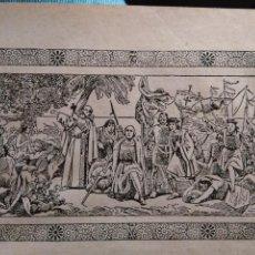 Arte: ANTIGUO GRABADO HISTORIA DE LA LITERATURA - LEER - DESCUBRIMIENTO DE AMERICA. Lote 108105667