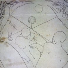 Art: ADÁN, EVA Y LA SERPIENTE. GRABADO SOBRE PAPEL. FIRMADO. ESPAÑA. 1948. Lote 223598317