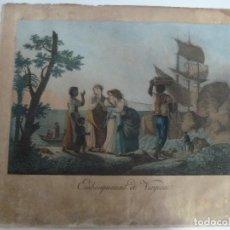 Arte: EMBARQUEMENT DE VIRGINIE. GRABADO ORIGINAL A COLOR DEL SIGLO XVIII. AUTOR. AGUSTIN LEGRAND.. Lote 108991783