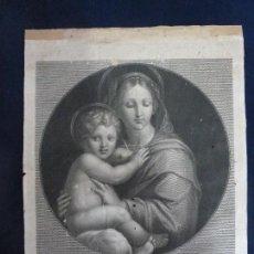 Arte: GRABADO ORIGINAL DE GIOVANNI FOLO. VIRGO CUM PUERO IESU. PINTOR RAPHAEL. Lote 108994427