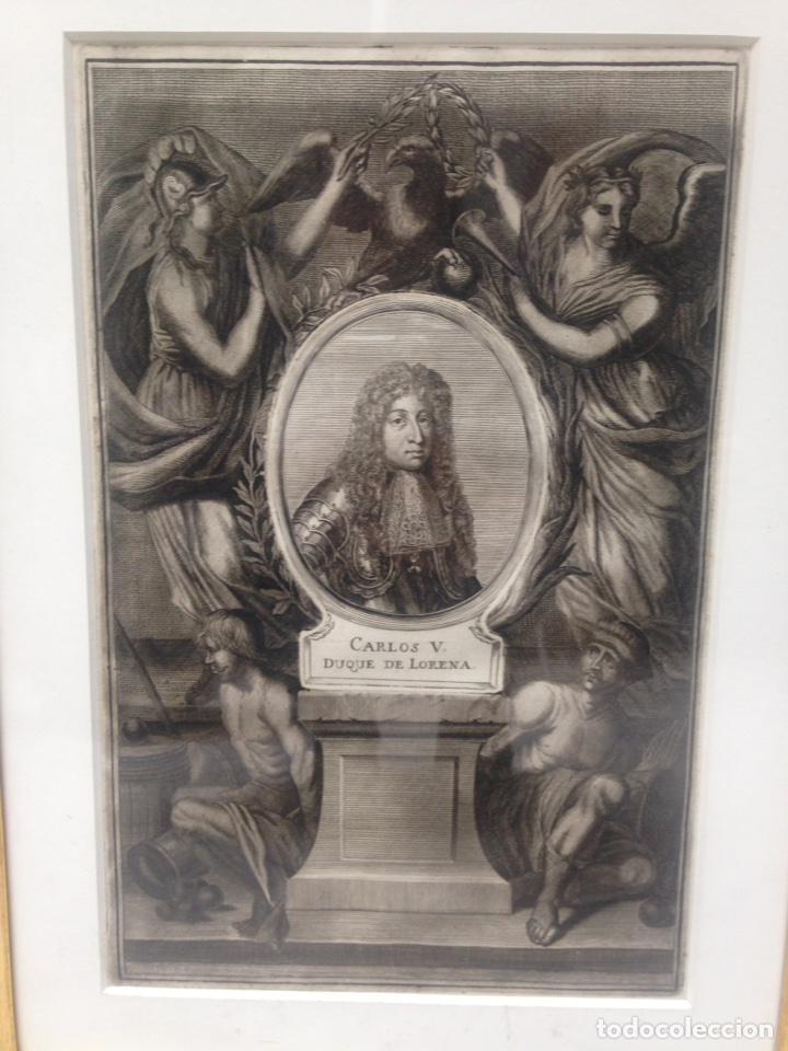 Arte: Grabado siglo XVIII con marco dorado oro 18 kilates - Foto 2 - 109073576