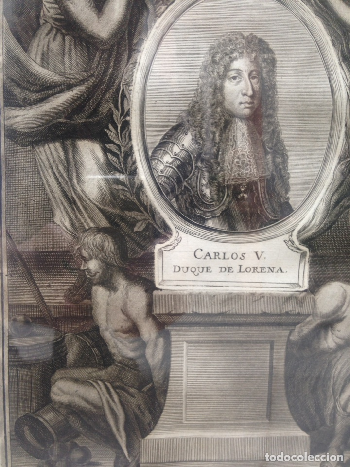 Arte: Grabado siglo XVIII con marco dorado oro 18 kilates - Foto 3 - 109073576