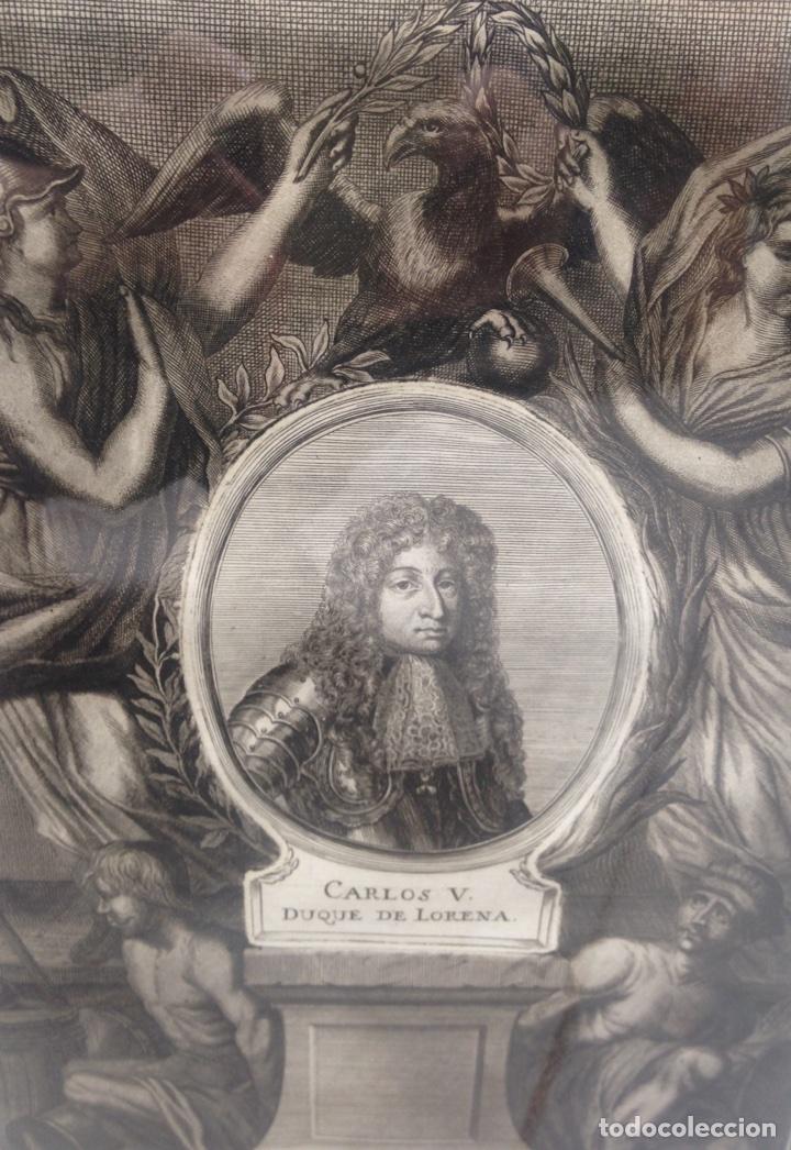 Arte: Grabado siglo XVIII con marco dorado oro 18 kilates - Foto 5 - 109073576