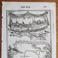 Arte: VISTA Y PLANO DEL PUERTO Y CIUDAD DE LISBOA (PORTUGAL), 1687. MALLET. Lote 109212459