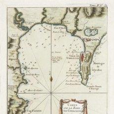 Arte: JACQUES NICOLAS BELLIN. CARTE DE LA BEYE DE GIBRALTAR. 1764. GRABADO AL COBRE. TITULADO.. Lote 109215495