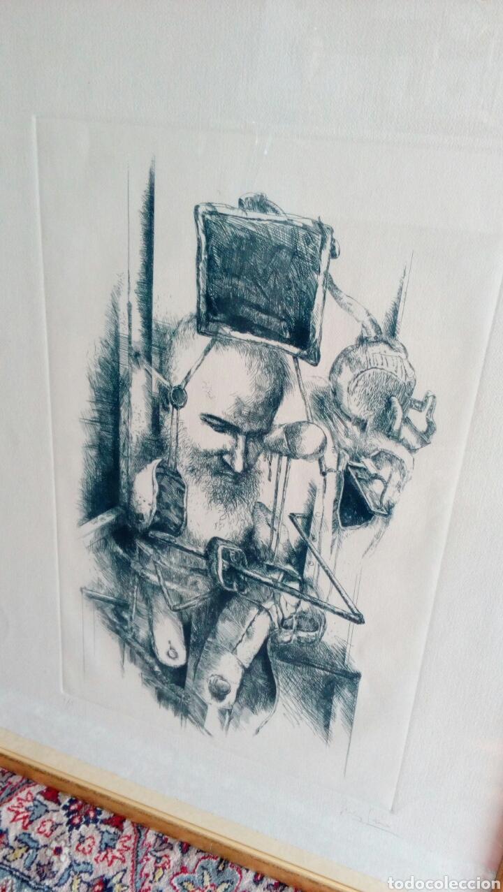 GRABADO PUNTA SECA DE LUIS SÁEZ, HOMENAJE A MILLARES, FIRMADO Y NUMERADO 7 DE 15 (Arte - Grabados - Contemporáneos siglo XX)