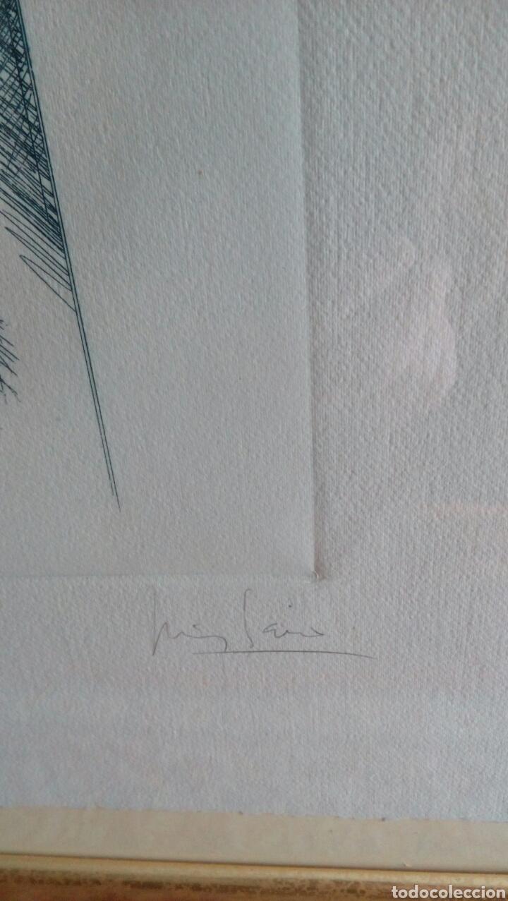 Arte: Grabado punta seca de Luis Sáez, Homenaje a Millares, firmado y numerado 7 de 15 - Foto 2 - 109256299