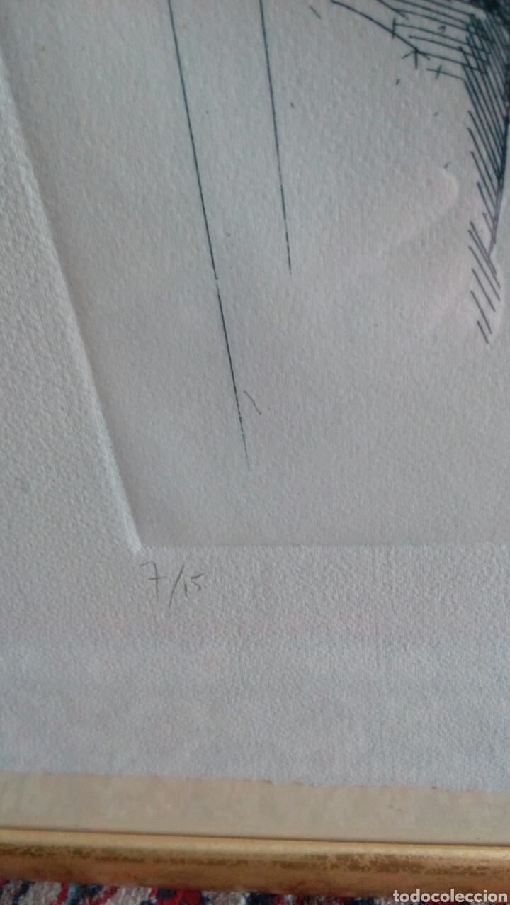 Arte: Grabado punta seca de Luis Sáez, Homenaje a Millares, firmado y numerado 7 de 15 - Foto 3 - 109256299