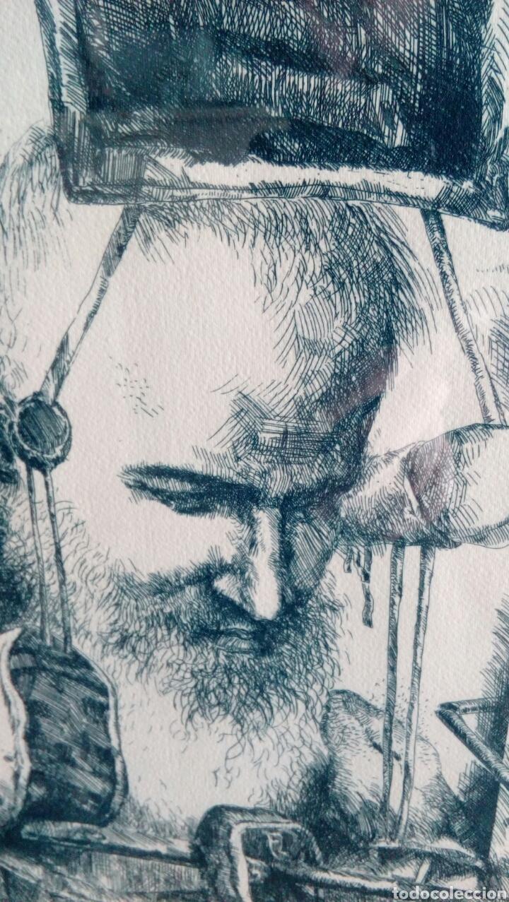 Arte: Grabado punta seca de Luis Sáez, Homenaje a Millares, firmado y numerado 7 de 15 - Foto 4 - 109256299