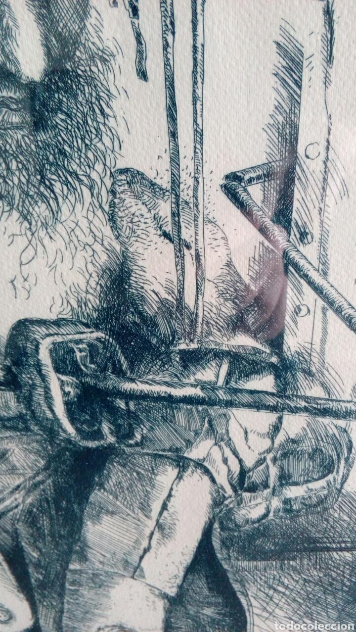 Arte: Grabado punta seca de Luis Sáez, Homenaje a Millares, firmado y numerado 7 de 15 - Foto 5 - 109256299