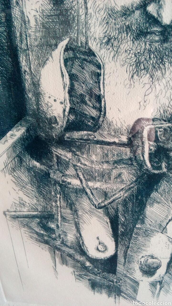 Arte: Grabado punta seca de Luis Sáez, Homenaje a Millares, firmado y numerado 7 de 15 - Foto 6 - 109256299