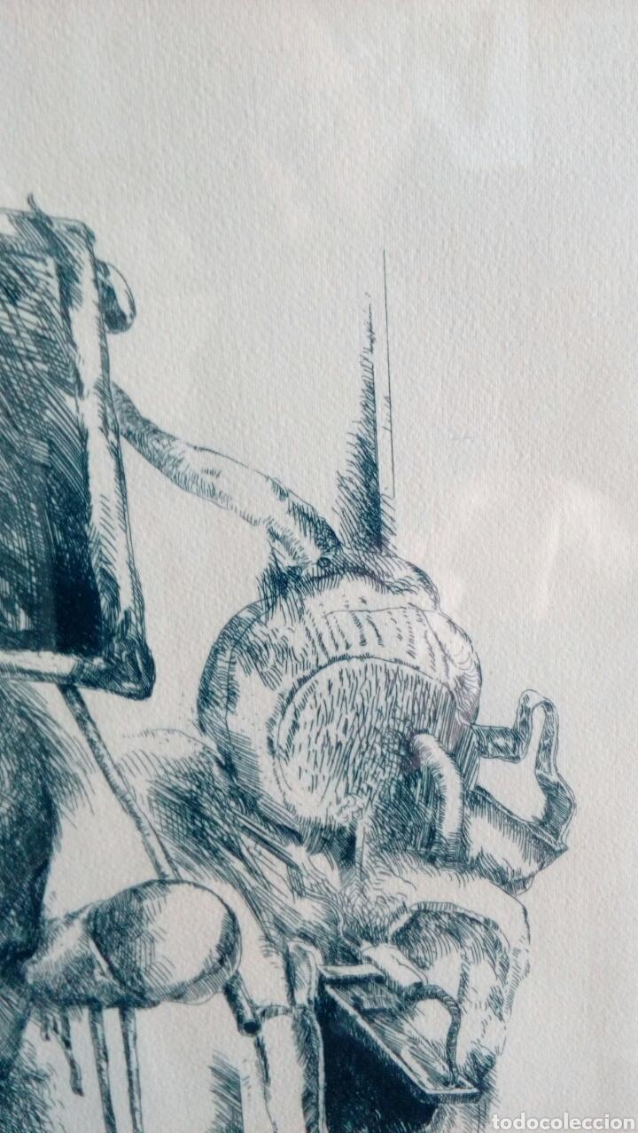 Arte: Grabado punta seca de Luis Sáez, Homenaje a Millares, firmado y numerado 7 de 15 - Foto 7 - 109256299